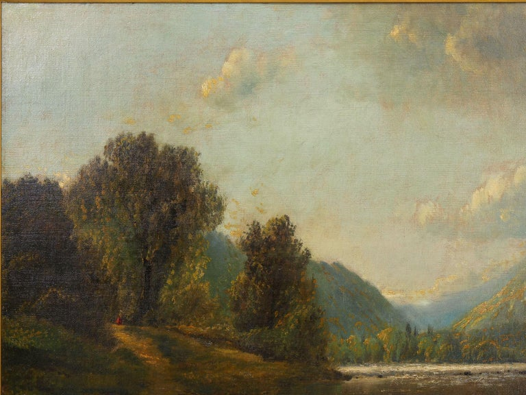 Giltwood Large Painting of 'River Landscape' by Edmund Darch Lewis American, 1835-1910 For Sale