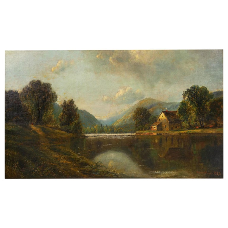 Large Painting of 'River Landscape' by Edmund Darch Lewis American, 1835-1910 For Sale