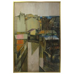Large Mid Century 1962 Painting Of Rooftops of Paris M. Siret, 1962