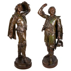 Large Pair of 19th Century Bronzed Spelter Caveliers