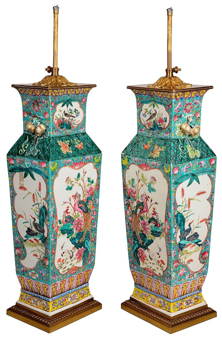 Chinese Export Large Pair 19th Century Chinese Famille Rose Vases / Lamps