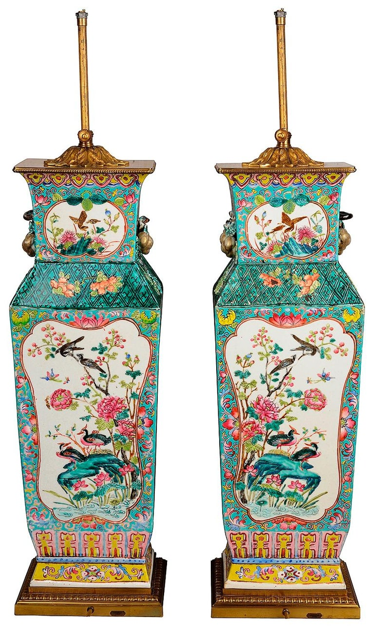 Hand-Painted Large Pair 19th Century Chinese Famille Rose Vases / Lamps