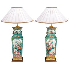 Large Pair 19th Century Chinese Famille Rose Vases / Lamps