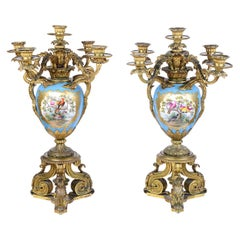 Large Pair of 19th Century French Sevres Style and Ormolu Candelabra