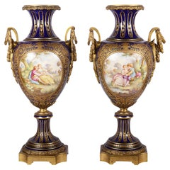 Large Pair 19th Century French Sevres Style Vases