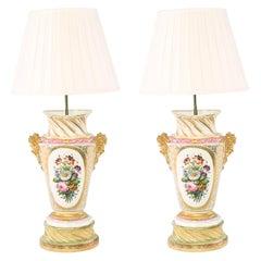 Large Pair 19th Century Gilt Porcelain Table Lamps