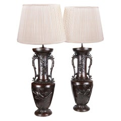 Large Pair of 19th Century Japanese Bronze Vases / Lamps