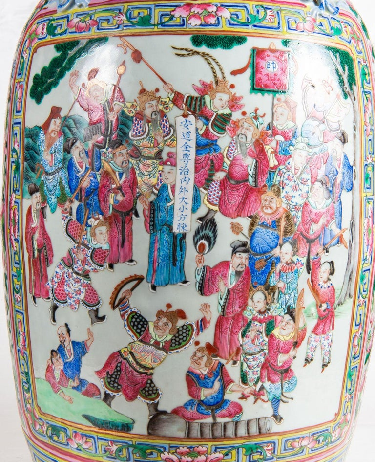 Large Pair 19th Century Pair of Famille Rose Vases For Sale 6