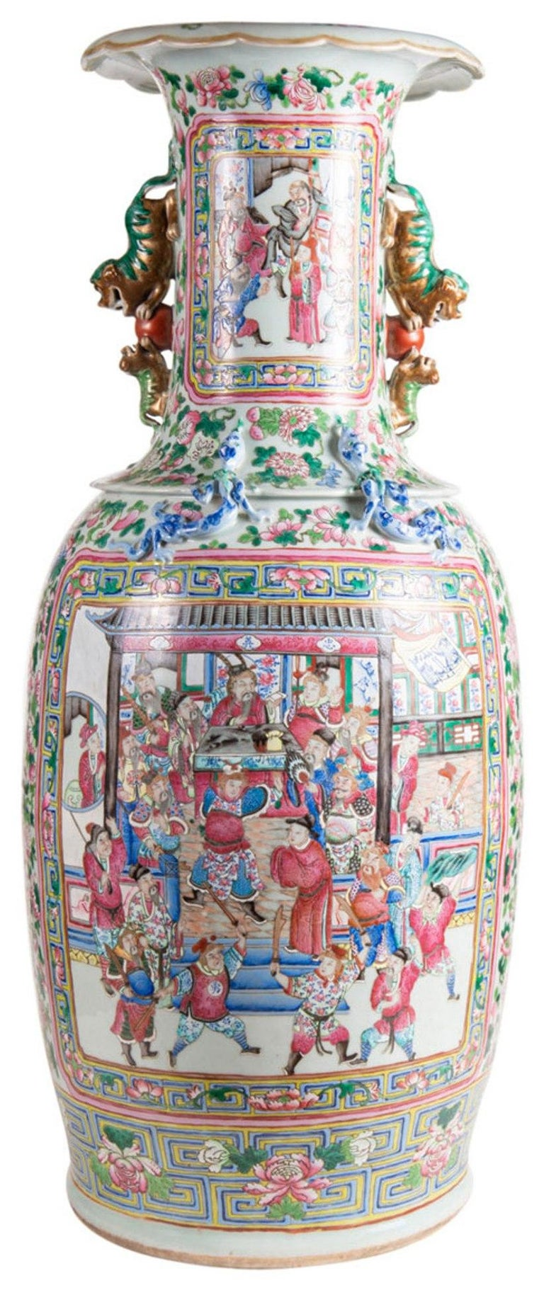 A very impressive pair of 19th century Chinese Famille Rose floor standing vases, each green and pink ground with exotic birds and flowers. Inset painted panels depicting courtiers, scholars, musicians and warriors. Measures: 89cm (35