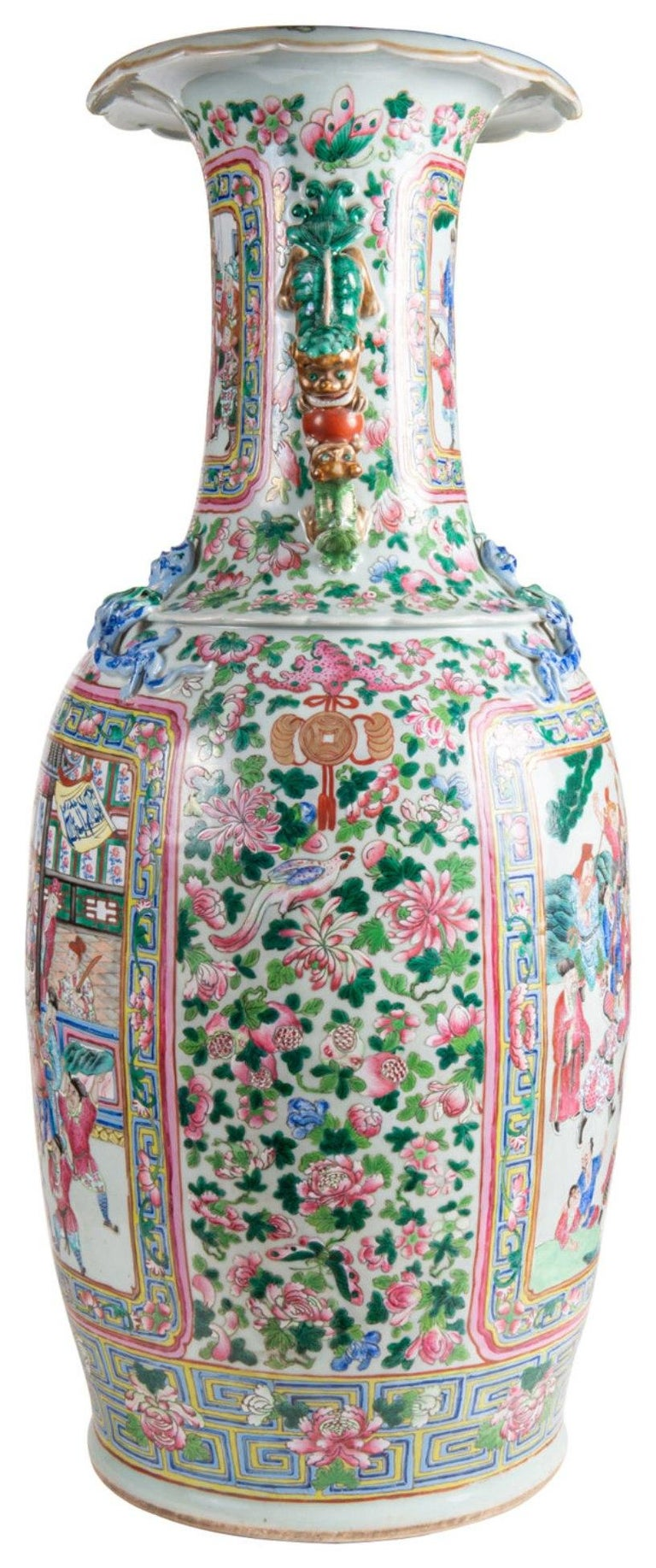 Chinese Export Large Pair 19th Century Pair of Famille Rose Vases For Sale