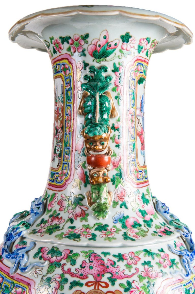 Porcelain Large Pair 19th Century Pair of Famille Rose Vases For Sale