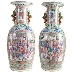 Large Pair 19th Century Pair of Famille Rose Vases