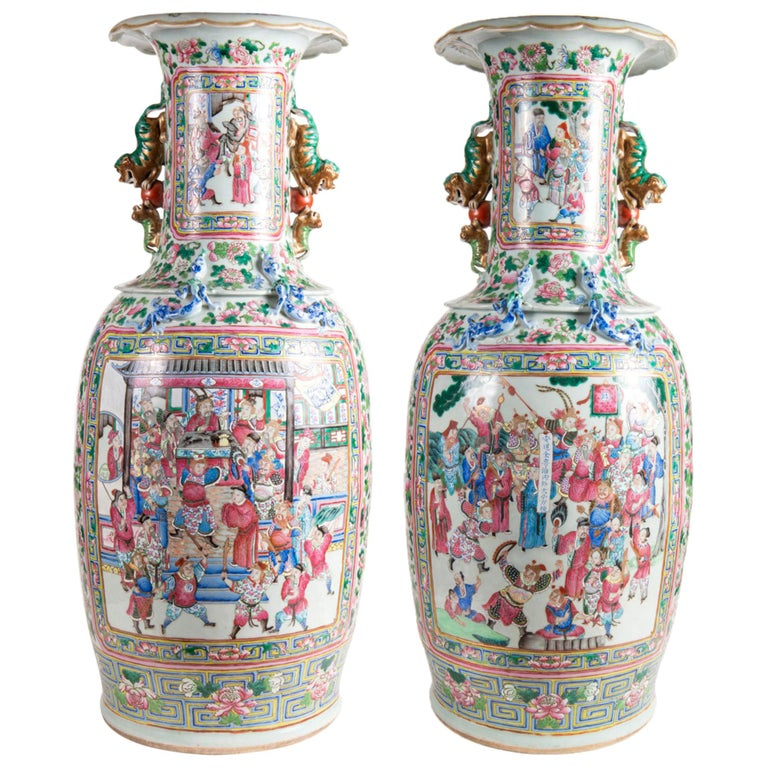 Large Pair 19th Century Pair of Famille Rose Vases For Sale