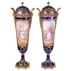 Large Pair of 19th Century Sevres Style Lidded Vases