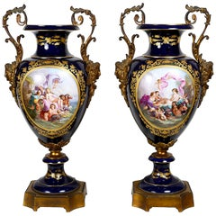 Large Pair 19th Century Sevres Style Vases