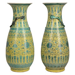 Large Pair of 19th Chinese Yellow and Green Ground Vases