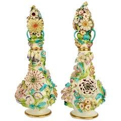 Large Pair Antique Coalbrookdale Type English Flower Encrusted Porcelain Bottles