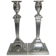 Large Pair of Antique English Silver Plated Candlesticks by Walker & Hall
