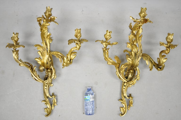 Large Pair of Antique French Rococo Gold Gilt Dore Bronze Candle Wall Sconces For Sale 8