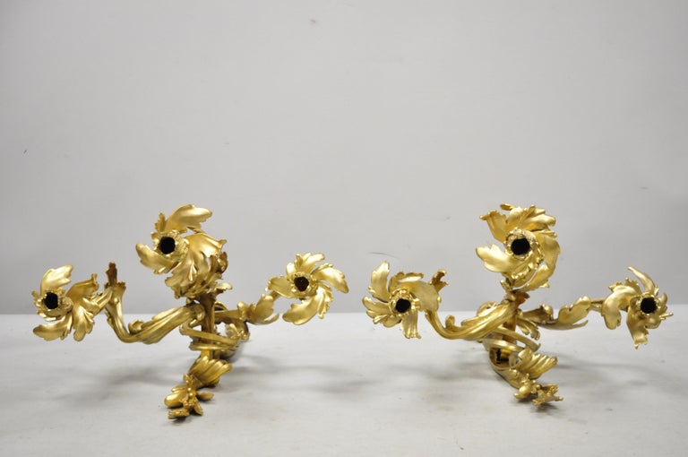 Large Pair of Antique French Rococo Gold Gilt Dore Bronze Candle Wall Sconces For Sale 3