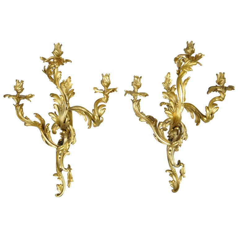 Large Pair of Antique French Rococo Gold Gilt Dore Bronze Candle Wall Sconces For Sale