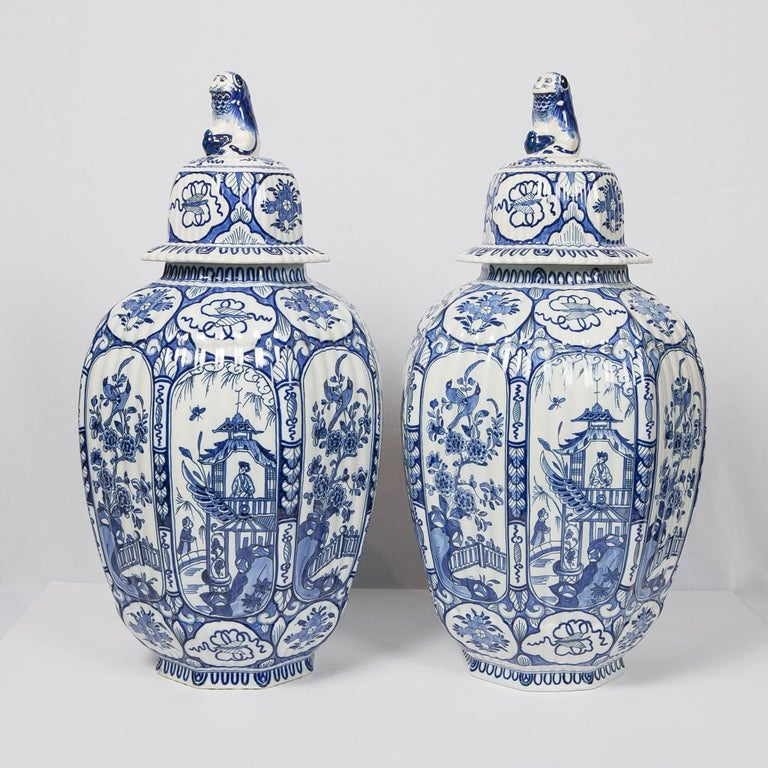 Rococo Large Pair of Blue and White Delft Vases Antique Made, 20th Century For Sale