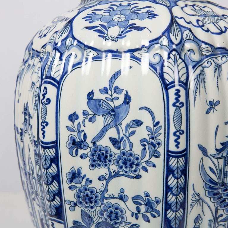 Dutch Large Pair of Blue and White Delft Vases Antique Made, 20th Century For Sale