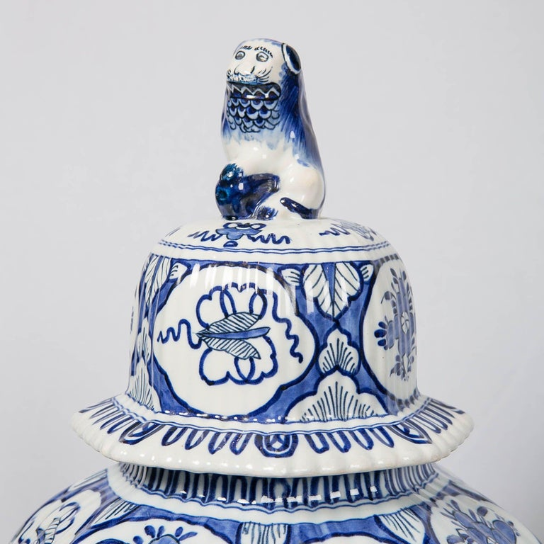 Large Pair of Blue and White Delft Vases Antique Made, 20th Century In Excellent Condition For Sale In New York, NY