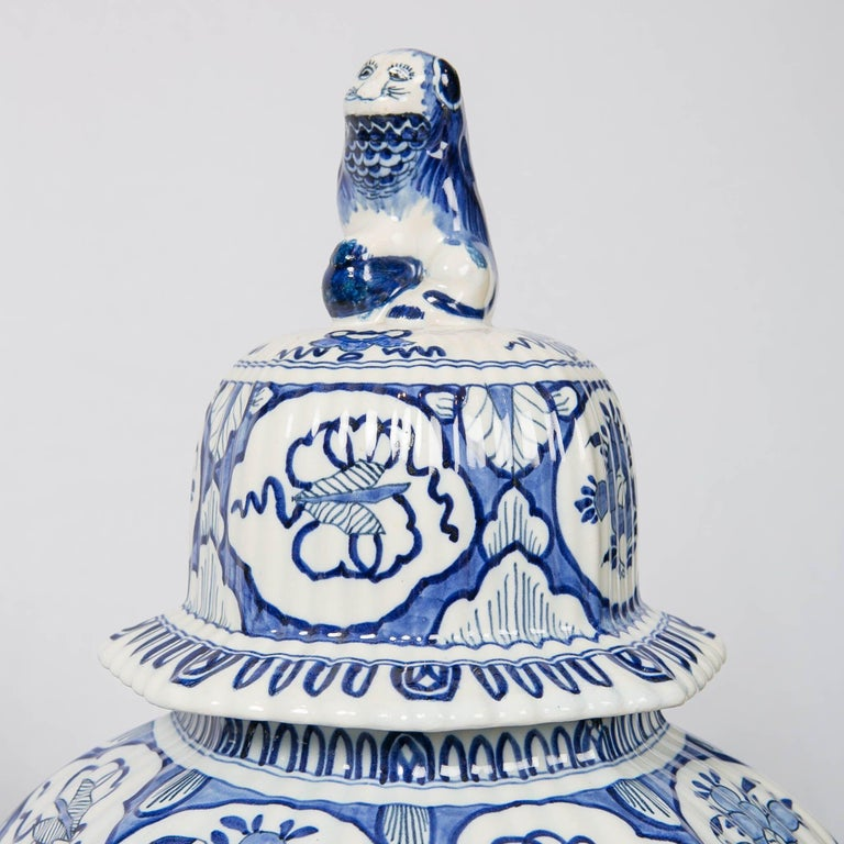 Large Pair of Blue and White Delft Vases Antique Made, 20th Century For Sale 1