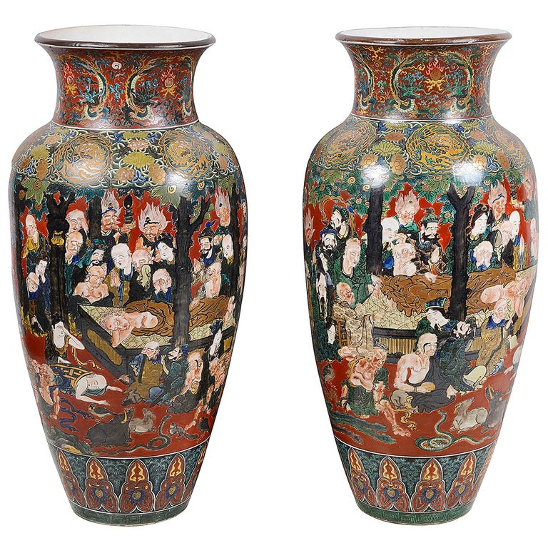 Large Pair of circa 19th Century Japanese Kutani Porcelain Vases For Sale