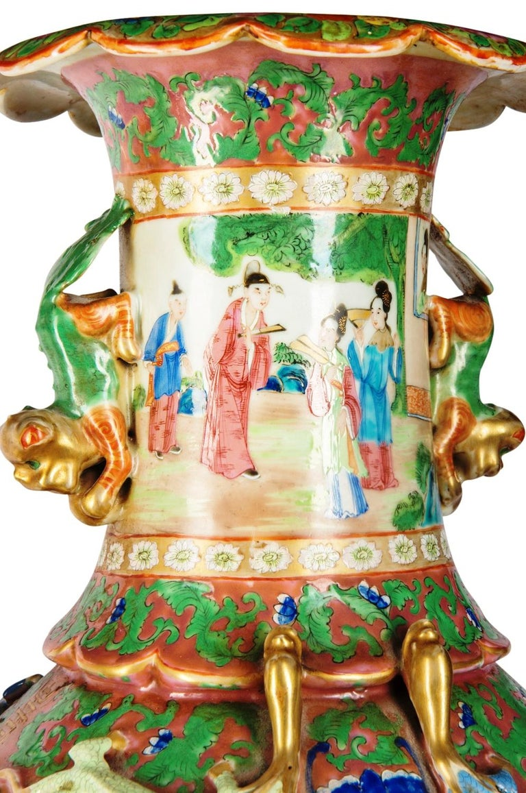 Large Pair of Cantonese or Rose Medallion Vases or Lamps, 19th Century For Sale 4