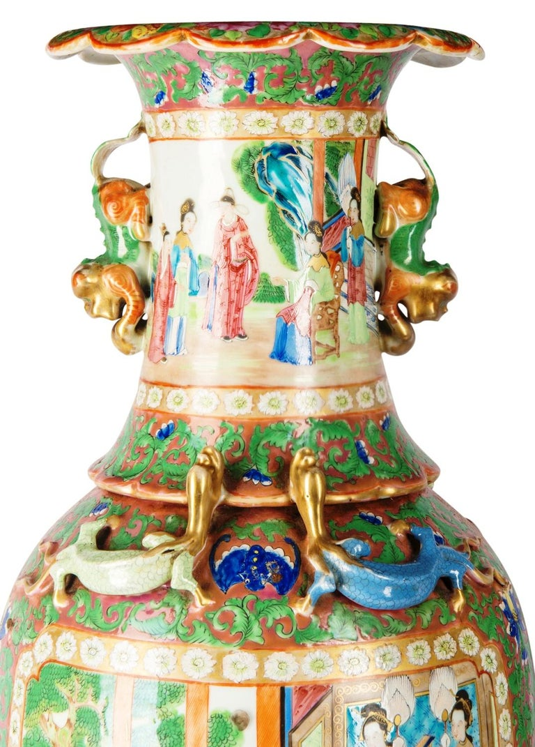 Gilt Large Pair of Cantonese or Rose Medallion Vases or Lamps, 19th Century For Sale