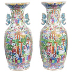 Large Pair Chinese Cantonese / Rose Medallion Vases, 19th Century