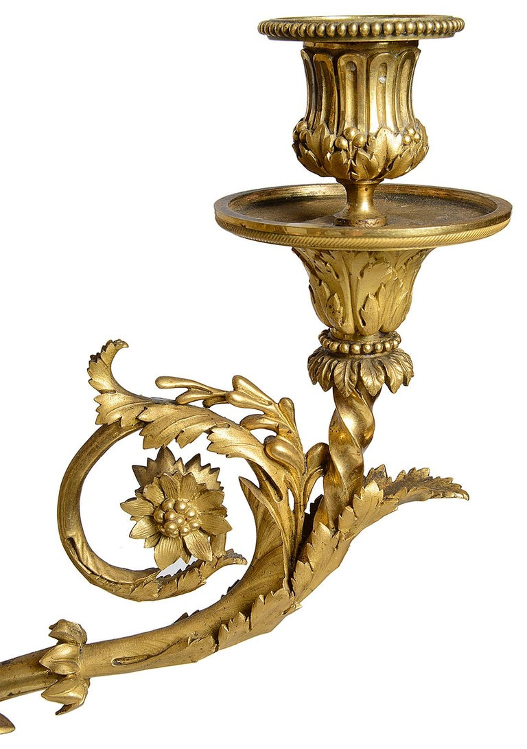 Large Pair Classical Bronze and Ormolu Candelabra, circa 1880 For Sale 4