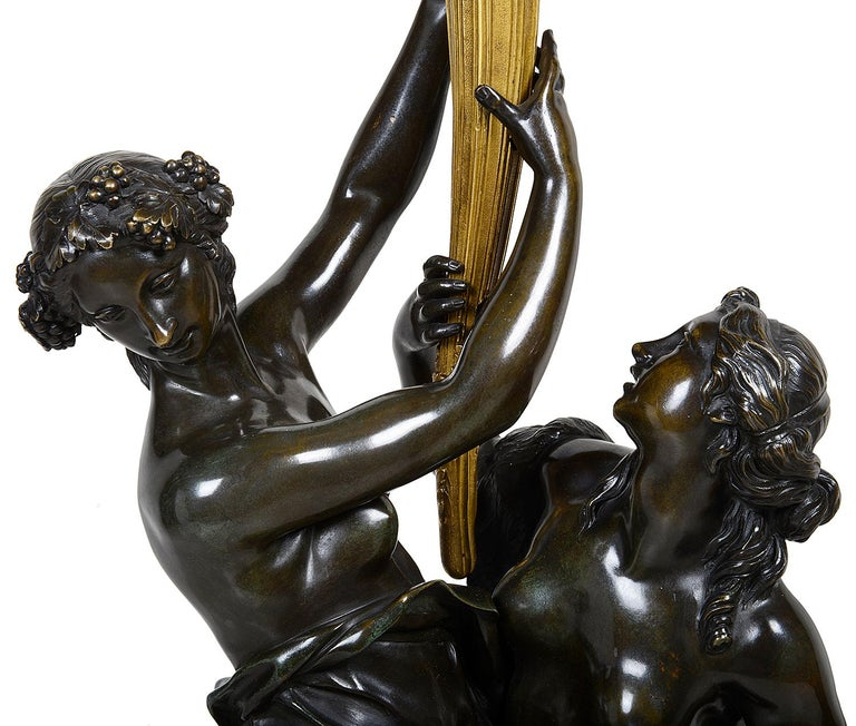 Neoclassical Large Pair Classical Bronze and Ormolu Candelabra, circa 1880 For Sale