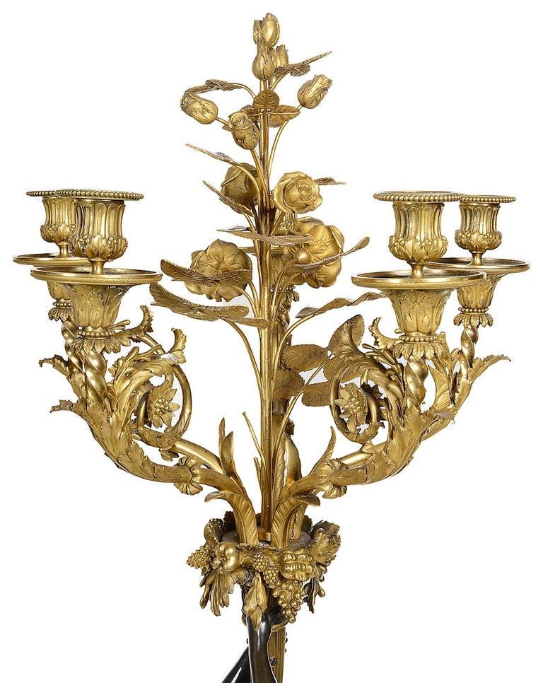 Large Pair Classical Bronze and Ormolu Candelabra, circa 1880 For Sale 3