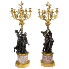 Large Pair Classical Bronze and Ormolu Candelabra, circa 1880