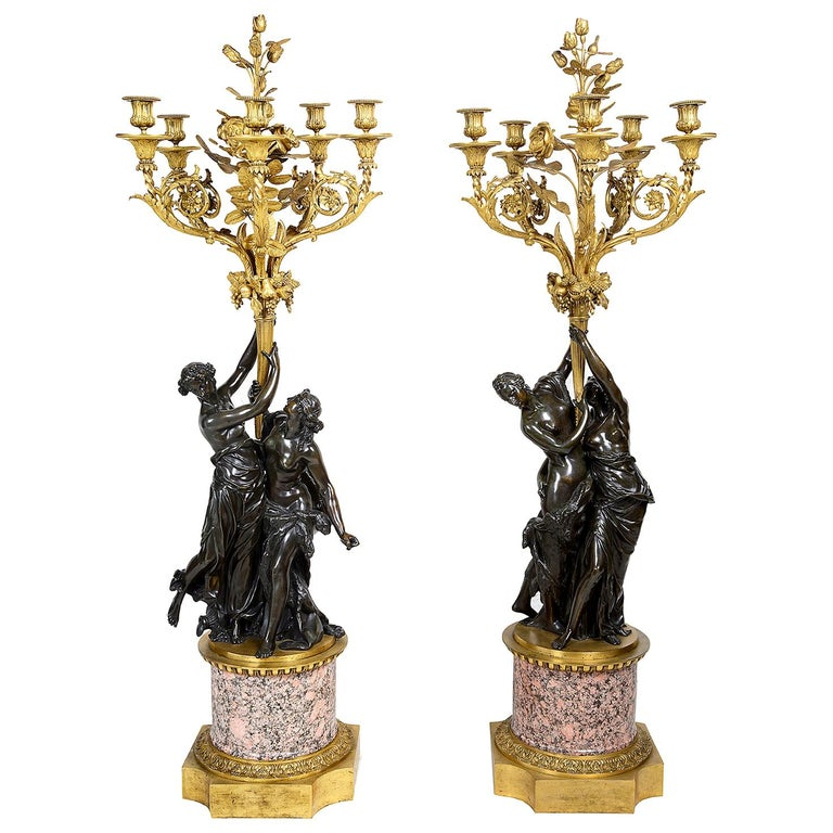 Large Pair Classical Bronze and Ormolu Candelabra, circa 1880 For Sale