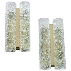 Large Pair Doria Sconces Chrome Metal Murano Ice Glass Tubes Venini Style, 1960s