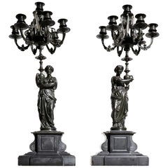 Large Pair of French Patinated Bronze Figural Candelabra, 19th Century