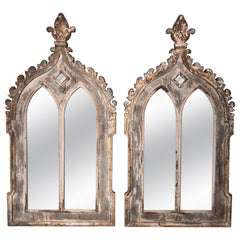 Large Pair of Gothick Style Grey Painted Pier Mirrors