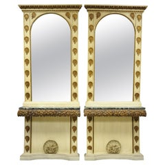 Large Pair Italian Hollywood Regency Shell & Marble Console Hall Table & Mirror