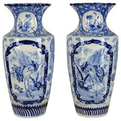 Large Pair of Japanese Blue and White Vases, circa 1890