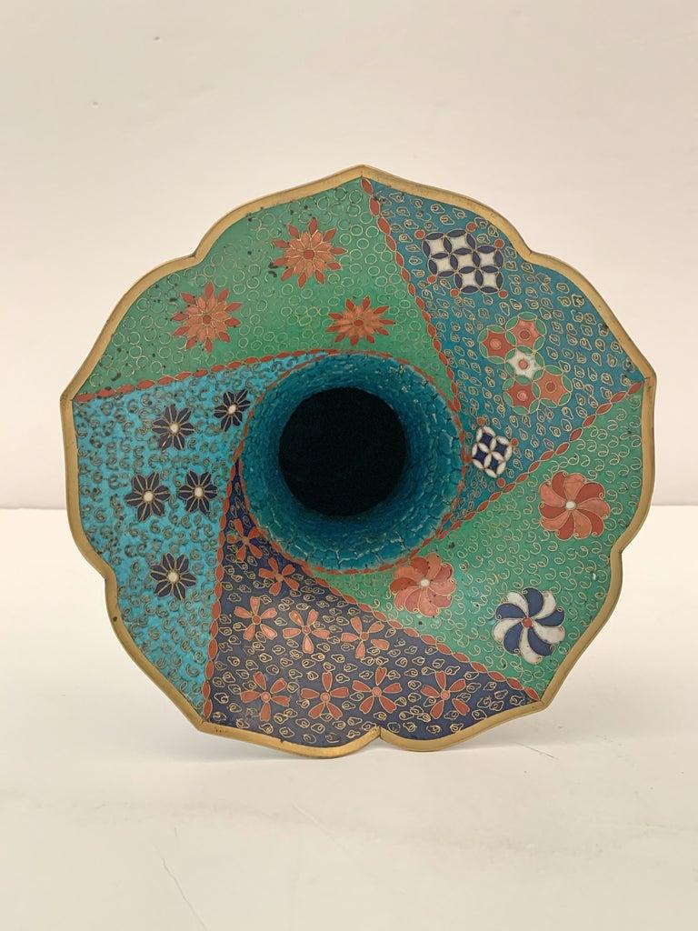 Large Pair of Japanese Cloisonne Peacock Vases Attributed to Kaji Tsunekichi For Sale 4