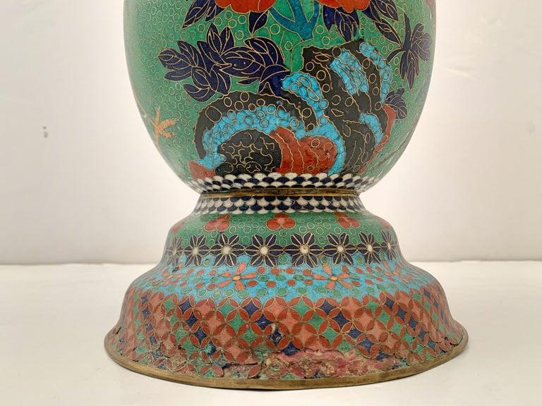 Large Pair of Japanese Cloisonne Peacock Vases Attributed to Kaji Tsunekichi For Sale 5