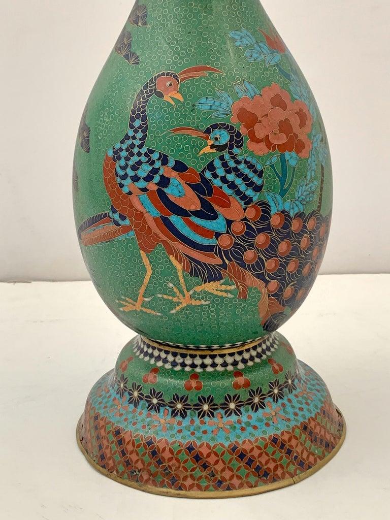 Large Pair of Japanese Cloisonne Peacock Vases Attributed to Kaji Tsunekichi For Sale 6
