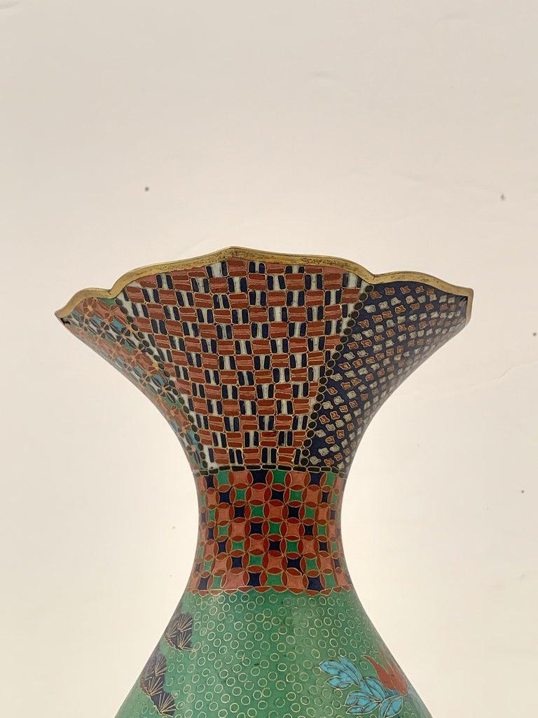 Large Pair of Japanese Cloisonne Peacock Vases Attributed to Kaji Tsunekichi For Sale 7