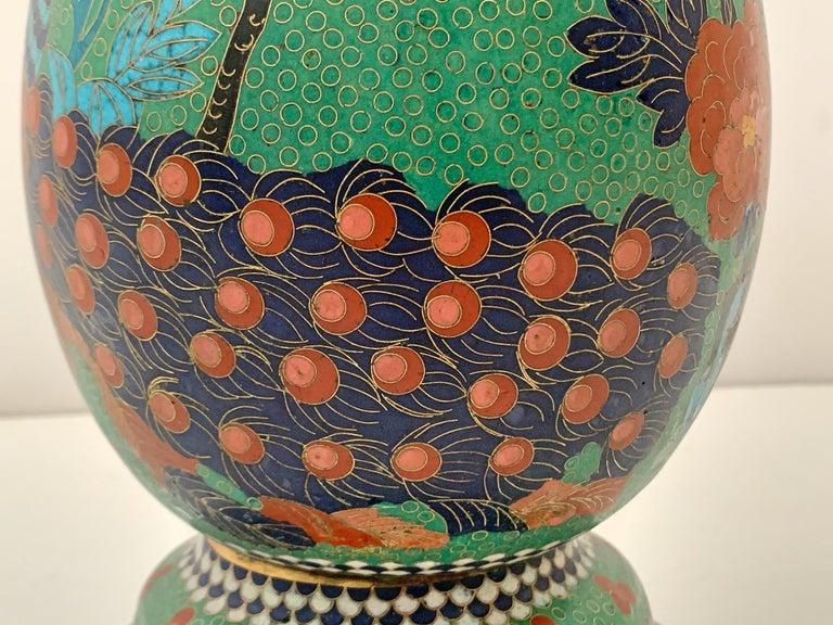 Large Pair of Japanese Cloisonne Peacock Vases Attributed to Kaji Tsunekichi For Sale 8