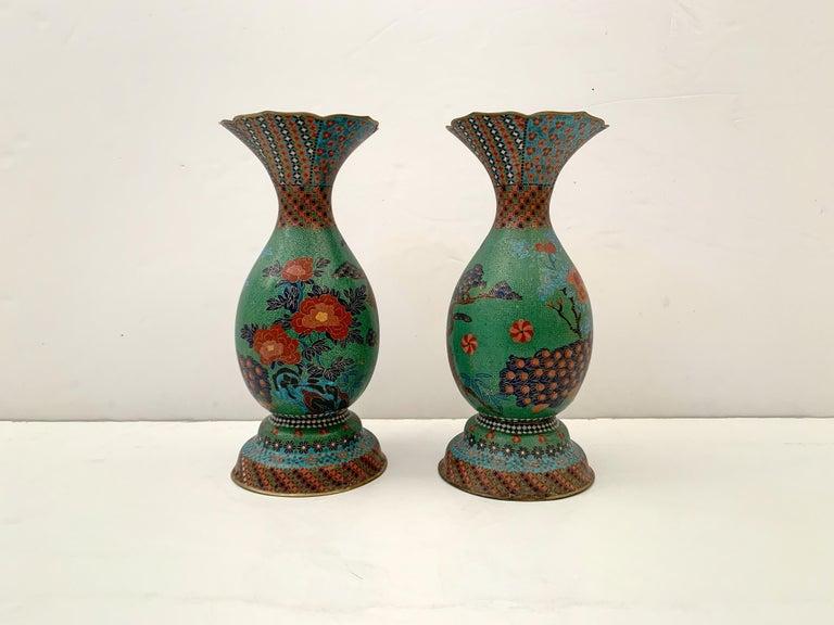Meiji Large Pair of Japanese Cloisonne Peacock Vases Attributed to Kaji Tsunekichi For Sale
