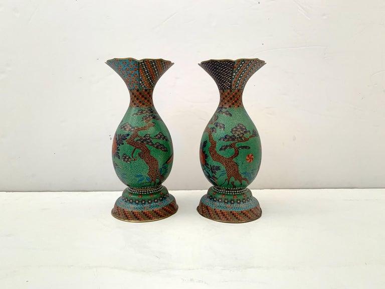Cloissoné Large Pair of Japanese Cloisonne Peacock Vases Attributed to Kaji Tsunekichi For Sale